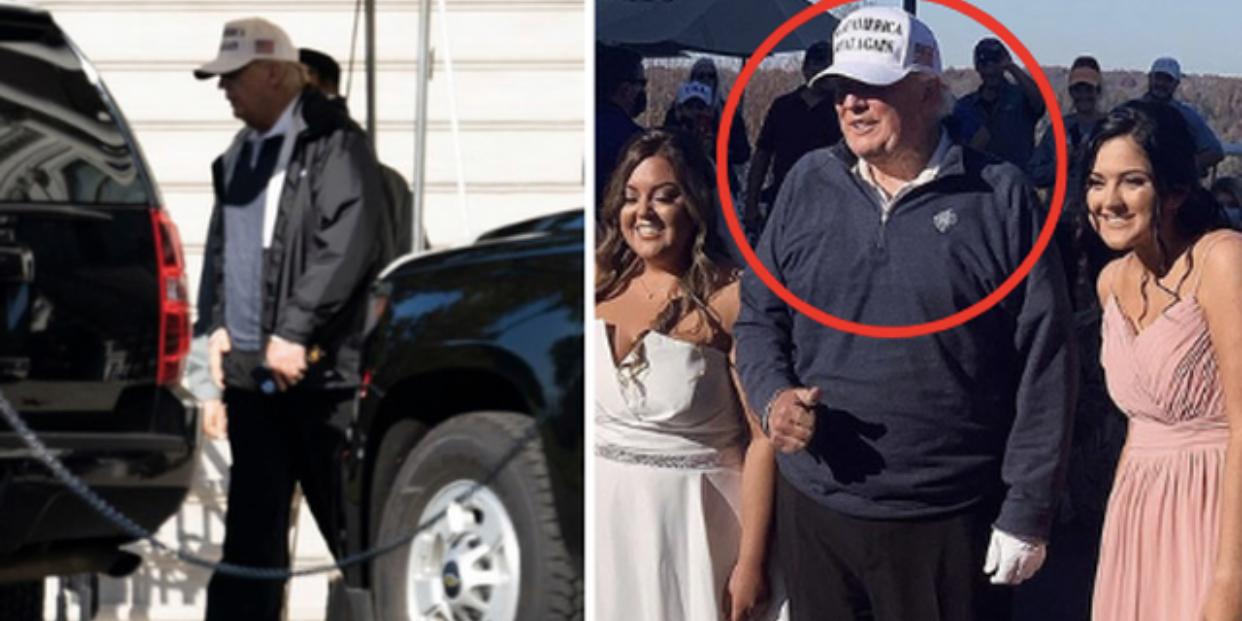 Hình ảnh vẫn còn tươi cười vui vẻ ở sân golf của ông Trump trước khi vội vàng quay về Nhà Trắng vì hay tin mình đã tái tranh cử thất bại