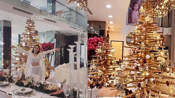"""Căn biệt thự 40 tỷ của Ngọc Trinh """"lên đồ"""" đón Giáng sinh: Choáng ngợp như cung điện, mọi thứ đều """"dát vàng"""""""