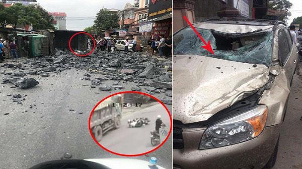"""Video tai nạn liên hoàn: Tài xế xe tải """"xuất thần"""" bẻ lái tránh 2 nữ sinh ngã xe máy rồi lật nhào trên đường"""