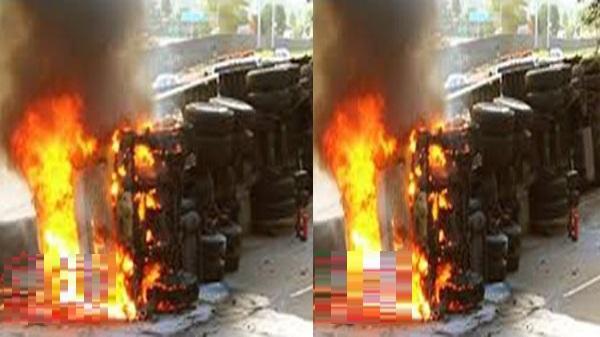 Kinh hoàng: Xe container đâm vào dải phân cách rồi bốc cháy ngùn ngụt, hai người chết cháy trong xe