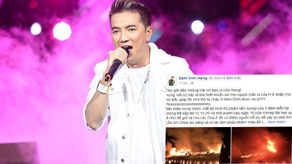 Mr Đàm trích nửa cát-sê, kêu gọi mọi người giúp đỡ nhà thờ trăm tuổi bị cháy ở Nam Định