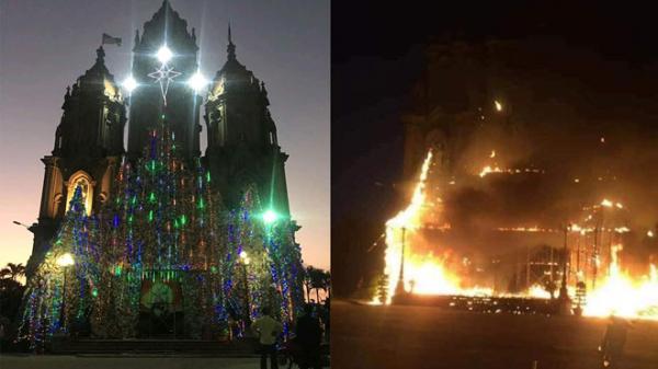 Nam Định: Mô hình hang đá nhà thờ cao 20 m ch.áy lớn trước thềm Giáng sinh