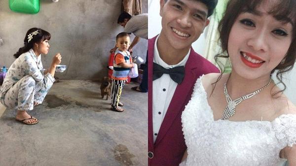 Hình ảnh cô dâu vừa trang điểm xong tranh thủ xúc cơm cho con ăn trước khi mặc váy cưới gây xôn xao