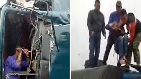Thái Bình: Xe tải bị đ.âm n.át đầu, tài xế g.ào khóc đau đớn trong buồng lái