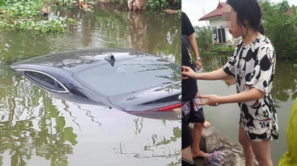 Ô tô con ch.ìm nghỉm dưới sông, nữ tài xế ướt sũng đứng trên bờ gây chú ý CDM