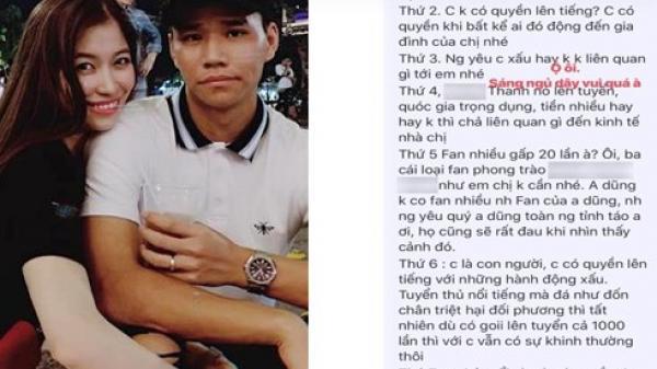 Bị anti-fan mắng 'vô học' khi đăng lời xúc phạm Văn Thanh, bạn gái thạc sĩ của tuyển thủ CLB nổi tiếng đáp trả gây tranh cãi