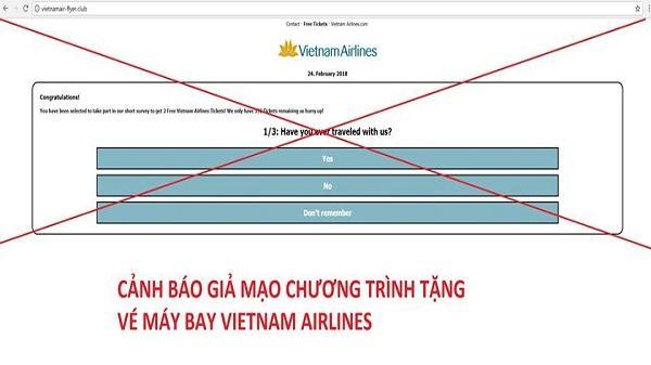 Vietnam Airlines khuyến cáo khách hàng cảnh giác trước hành vi giả mạo chương trình tặng vé máy bay miễn phí