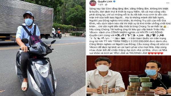 Ấm lòng hình ảnh MC Quyền Linh đi xe máy, đeo balo mang 2,2 tỷ đồng trực tiếp quyên góp vào quỹ mua vaccine Covid-19 cho người nghèo