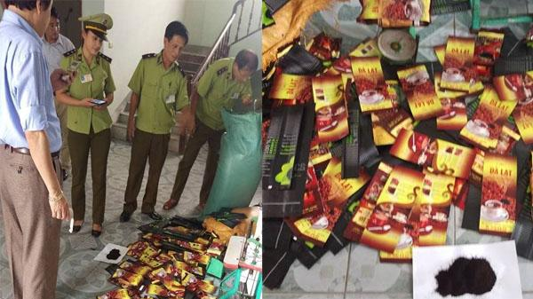 Đột nhập lò 'sản xuất' cà phê giả cực lớn ở Nghệ An