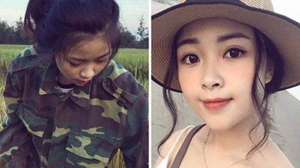 """Giúp bố mẹ thu hoạch lúa, nữ sinh Nghệ An khiến ai nhìn cũng phải thốt lên """"người đâu vừa đẹp người lại đẹp cả nết"""""""