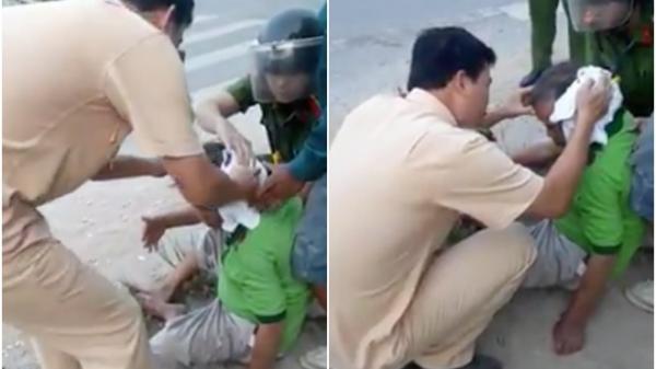 Clip: Xúc động hình ảnh chiến sĩ CSGT cởi áo để cầm máu cho người đàn ông bị tai nạn giao thông