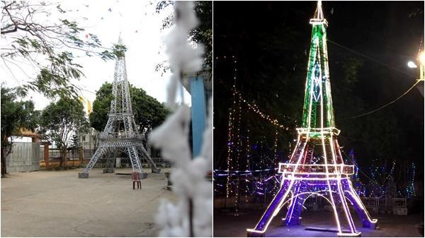 Cận cảnh tháp Eiffel bằng tre cao 22m chào đón Giáng sinh 2018 ở Nghệ An