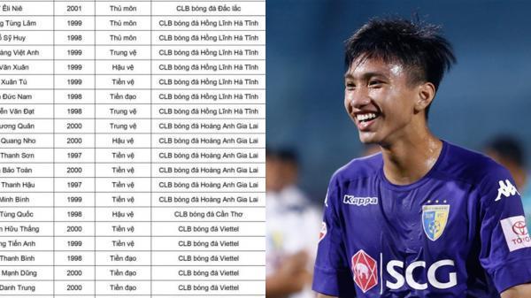 CHÍNH THỨC: Danh sách 7 cầu thủ Hà Tĩnh và 20 cầu thủ khác sẽ đấu với CLB Hàn Quốc giải U22 Việt Nam