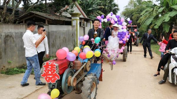Video: Độc lạ màn rước dâu dùng máy cày kéo xe bò ở Nghệ An