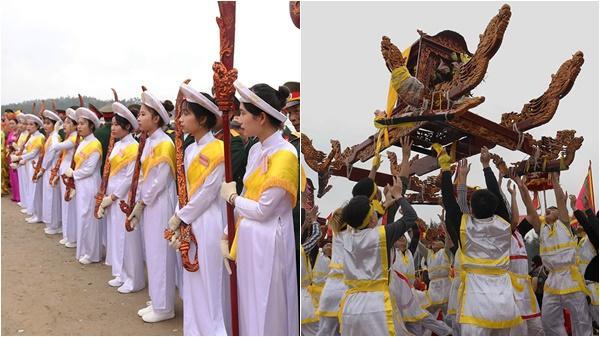 Thiếu nữ đồng trinh mang đao kiếm bảo vệ trai làng tung kiệu ở Nghệ An