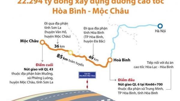 22.294 tỷ đồng xây dựng đường cao tốc Hòa Bình - Mộc Châu (Sơn La)