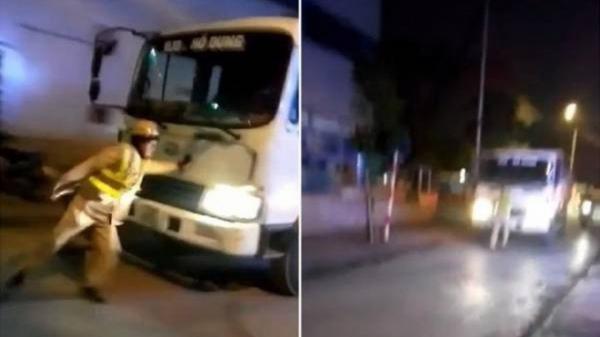 Tạm giữ hình sự tài xế xe tải lao thẳng vào CSGT đang làm nhiệm vụ