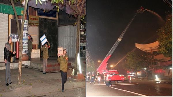 Công an tỉnh diễn tập phương án chữa cháy tại Trung tâm thương mại chợ Rồng
