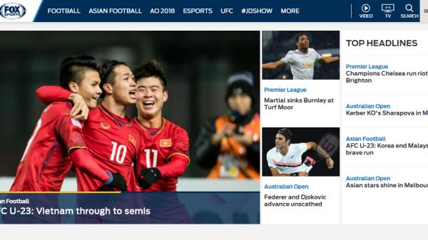 """Dòng tin """"Việt Nam tiến thẳng bán kết"""" xuất hiện đầy tự hào trên trang chủ Fox Sports Asia"""