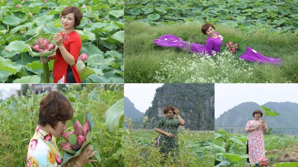 Thích thú với bộ ảnh áo dài SẮC HẠ bên đầm sen của nhà thiết kế Ninh Bình