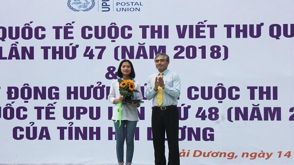 Nữ sinh tài năng Hải Dương đoạt giải Ba cuộc thi viết thư quốc tế UPU lần thứ 47