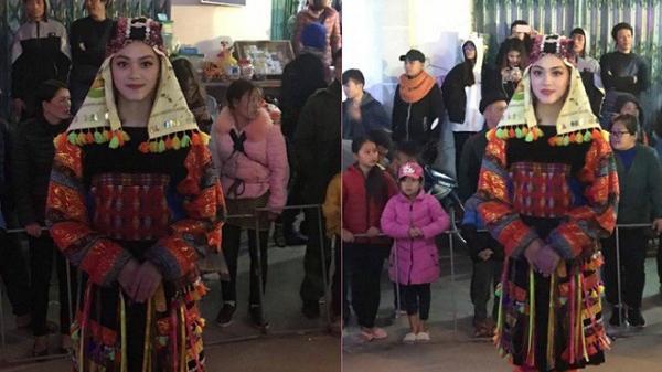 """Bị chụp lén trong lễ hội, cô gái trong trang phục dân tộc gây """"bão"""" mạng xã hội"""