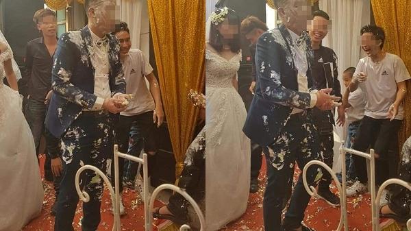 Vui thôi đừng vui quá: Cô dâu buồn thiu, chú rể thất thần sau khi bị hội bạn thân úp nguyên cái bánh gato vào người
