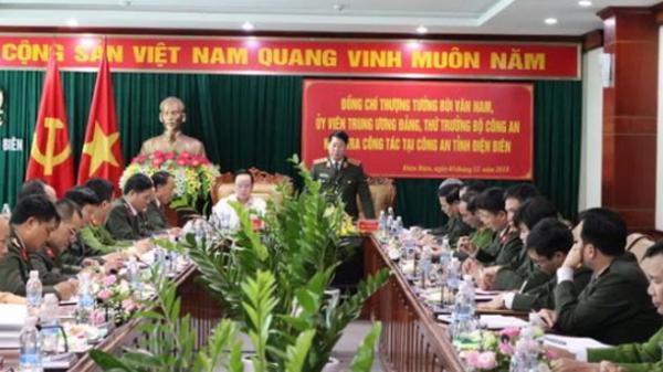 Thượng tướng Bùi Văn Nam kiểm tra công tác tại Công an tỉnh Điện Biên