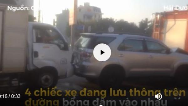 Clip: 4 ô tô đâm nhau liên hoàn gây tai nạn kinh hoàng