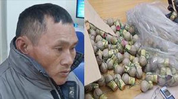 Bị bắt khi đang mang hàng chục kg pháo đi bán cho khách Ninh Bình