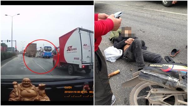 Dân mạng bùng n.ổ tranh cãi tai nạn ở Hải Dương: Tài xế container bỏ đi sau khi quệt vào xe máy đi đường?