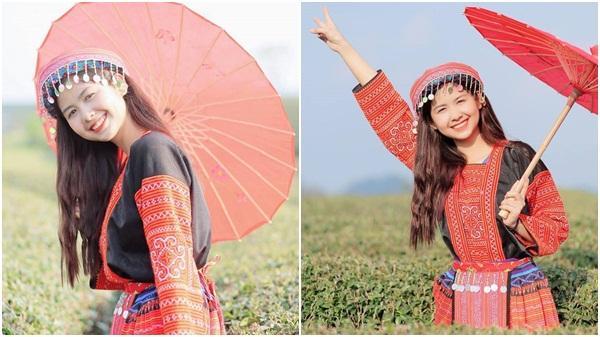 'Hot girl chân khoèo' nổi tiếng quê Hải Dương diện trang phục dân tộc khiến dân mạng 'ngẩn ngơ'