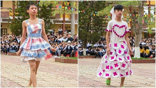 Dàn nam sinh Hải Dương giả gái mặc váy tự chế siêu sexy trình diễn catwalk gây bão share Facebook
