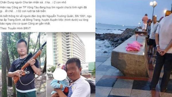 Dân mạng phát tán ảnh, truy lùng ông bố nghi sát hại 2 con nhỏ rồi để chung trong túi xách trên bờ biển