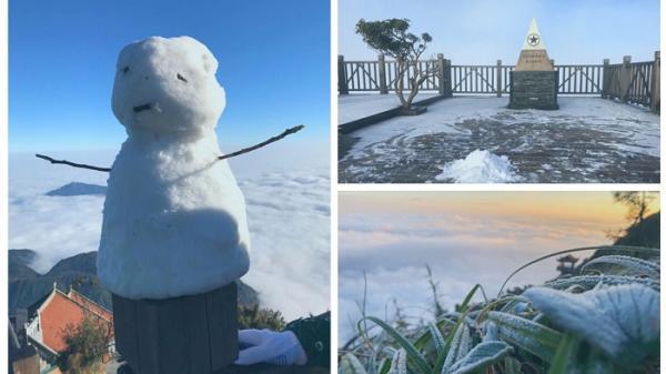 Fansipan (Lào Cai) dưới 0 độ C, sương muối phủ trắng: Kéo dài đến bao giờ?