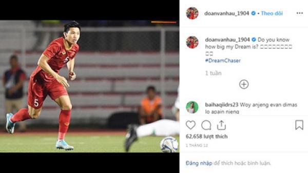 Instagram của Đoàn Văn Hậu bị fan Indonesia tấn công