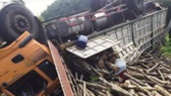 Bị container tông, xe khách chạy tuyến Ninh Bình-Hà Nội bay từ cao tốc xuống ruộng