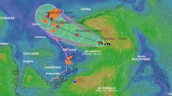 Ngày 12-6, áp thấp mạnh gây mưa lớn Bắc bộ và Trung bộ