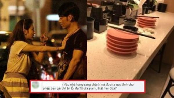 """Quy định bạn gái chỉ được ăn 10 đĩa sushi, cặp đôi """"mấp mé"""" chia tay"""