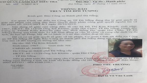 Đà Nẵng: Truy tìm nữ giám đốc lừa đưa người để đi du lịch, du học để chiếm đoạt tiền