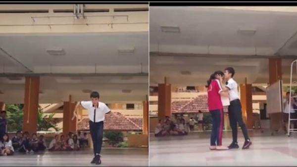 """Nam sinh nhảy trên nền nhạc """"Đưa em đi khắp thế gian"""" giữa sân trường tặng bạn gái ngày sinh nhật"""