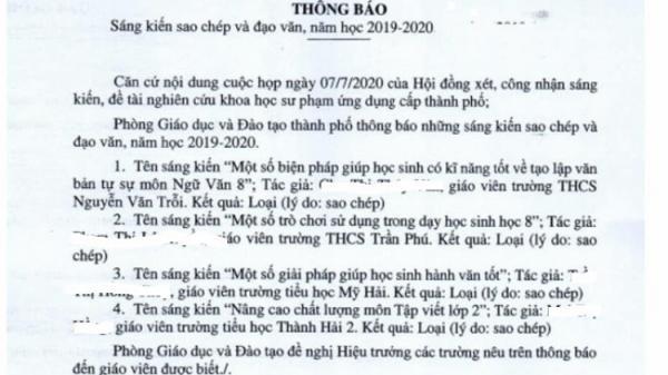 Ninh Thuận: Sao chép sáng kiến kinh nghiệm giáo viên bị bêu tên: Việc làm ấu trĩ?