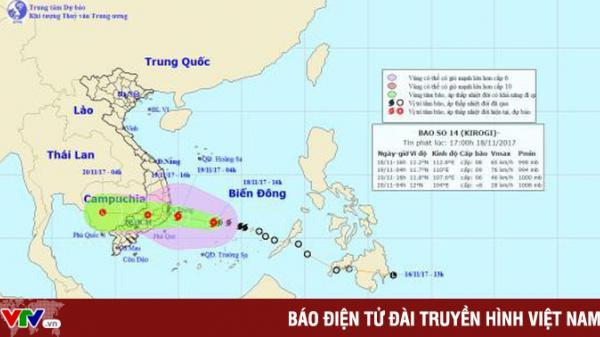 Tâm bão số 14 cách bờ biển các tỉnh Khánh Hòa - Ninh Thuận - Bình Thuận khoảng 400km