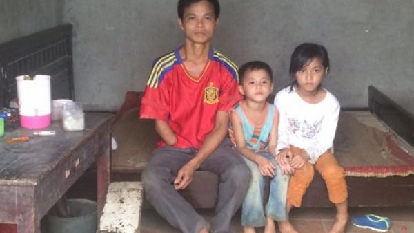 Phú Thọ: Vợ bỏ đi vì nhà quá nghèo, chồng mất cánh tay phải vẫn đi phun thuốc sâu thuê nuôi hai con thơ dại