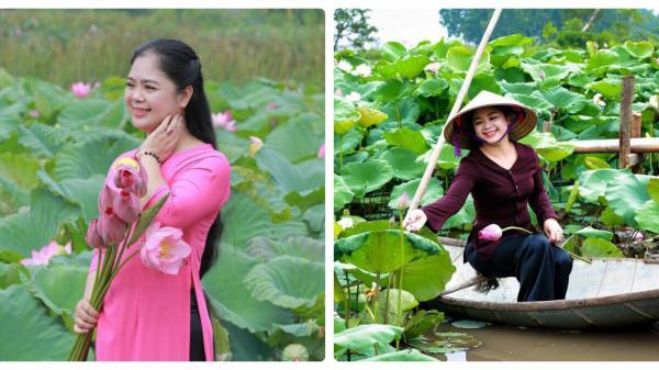 Không chỉ thiếu nữ Hà thành, U50 Phú Thọ vẫn đẹp ngọt ngào bên hồ sen tỏa hương thơm ngát