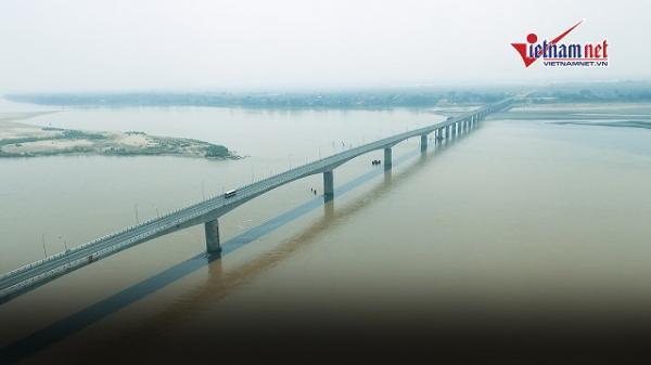 Clip: Đi thử cây cầu 1.460 tỷ nối Hà Nội với Phú Thọ