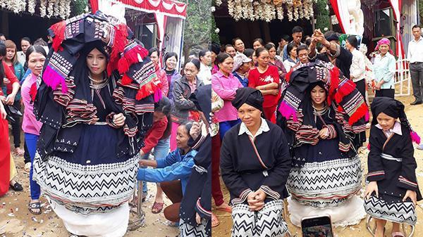 """CLIP LẠ LÙNG: Cô dâu Phú Thọ đội hàng chục chiếc... khăn trong đám cưới, dân mạng """"phát sốt"""""""