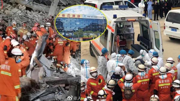 Giải cứu người bị mắc kẹt dưới đống đổ nát tại khách sạn Trung Quốc
