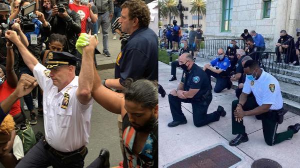 Cảnh sát trưởng New York quỳ gối ủng hộ người biểu tình