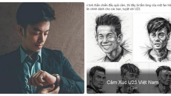 Chàng trai 8x Quảng Bình gây sốt với những bức vẽ chân dung HLV, cầu thủ U23 Việt Nam